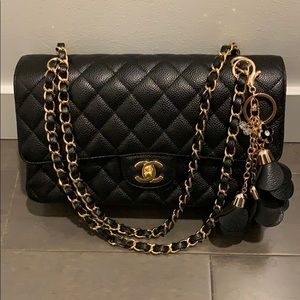 Black Rose Bag Charm or Key Chain